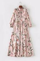 розовая ленточная галстук оптовых-2019 Лето Осень с длинным макси-бантом из ленты с круглым вырезом и розовым цветочным принтом Роскошные шелковые платья для взлетно-посадочной полосы JL2011JYJ