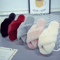 Wholesale Women Soft Plush Fleece Slippers Cross Band Warm House Outdoor Slippers Xmas Christmas Home Supplies Shoes Colors HH9