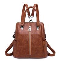 Wholesale used school bags resale online - Women Three Use Backpacks Vintage Female Shoulder Bags Soft Leather School Backpack Ladies Casual Travel Bags for Girls Mochilas