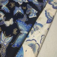 mavi patchwork kumaş toptan satış-Zarif Altın Damgalama Lacivert Bej Kelebek Baskılı Pamuk Kumaş 50x140 cm Kumaş Elbise Ev Docor için Kumaş Patchwork