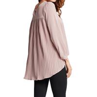 blusas longas para trás venda por atacado-Chiffon Mulheres Blusa Plissada de Volta O-pescoço Manga Comprida Blusas Feminina Assimétrica Solto Casual 5xl Plus Size Camisa Top 2019