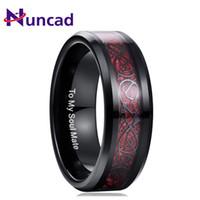 ingrosso anelli in fibra di carbonio di tungsteno-Nuncad 100% carburo di tungsteno drago modello rosso zircone uomini anello fedi nuziali placcatura colore nero anello in fibra di carbonio gioielli regalo