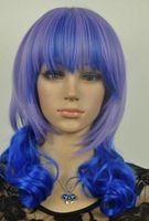 lila blaue mischperücke großhandel-PERÜCKE 1115 +++ New Blue Light Purple gemischt Medium Wavy Cosplay Perücke