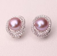 Wholesale genuine zircon earrings resale online - NEW mm Natural Freshwater Pearl Earrings Stud Earrings Silver Inlaid Zircon Sending Mom Genuine