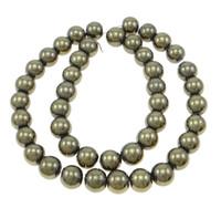 pyrit gold großhandel-Hochwertiger Schmuckherstellung 15,5 Zoll Runde Goldene Pyritperlen für glatte natürliche Edelsteinkugelperle 2/3/4/6/8/10 / 12mm