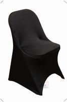 ingrosso sedia di banchetto nera spandex-5 pz pieghevole spandex copre le coperture nere della sedia di trasporto libero copre la sedia di banchetto elastico per le sedie di spiaggia di nozze festa