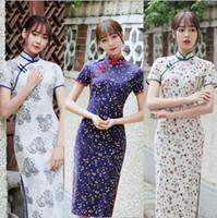 Wholesale korean dresses handmade resale online - Novelty Asian Casual Dress Chinese Japanese Korean Vietnamese Vintage Sweet Girl Dress Fashion Handmade Cotton Linen Cheongsam