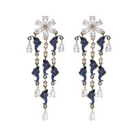 pendientes de pescado azul  al por mayor-Blue Dolphin Fish Earrings Brand Designer Wedding Dangler Mujeres Moda Flor Tassel Stud Pendientes Drop Water Ear Studs