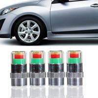 tapas de indicador de presión de neumáticos al por mayor-4 unids / set Mini Car Tire Neumático Tapas de Presión de Neumáticos TPMS Herramientas Monitor de Advertencia Indicador de Válvula 3 Colores de Alerta Herramientas de Diagnóstico Accesorios HHA238