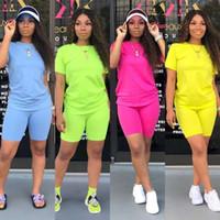ensemble de vêtements de ski achat en gros de-Vêtements d'été pour femmes shorts à manches courtes tenues 2 pièces vêtements de sport jogging costume de sport sweat-shirt mode solide T-shirt + shorts klw1342