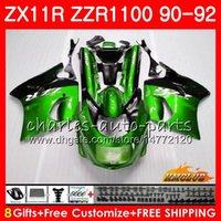ingrosso zx per la vendita-Carrozzeria per KAWASAKI NINJA ZX 11R ZZR 1100 ZX-11R 1990 1991 1992 30HC.70 ZX11 R vendita calda verde ZZR1100 ZZR-1100 ZX-11 R ZX11R 90 91 92 Carenature