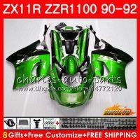 satılık zx kaplama toptan satış-KAWASAKI NINJA ZX 11R Için vücut ZZR 1100 ZX-11R 1990 1991 1992 30HC.70 ZX11 R sıcak satış yeşil ZZR1100 ZZR-1100 ZX-11 R ZX11R 90 91 92