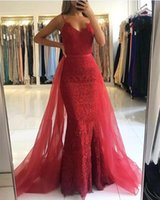 Wholesale black sequin prom gowns evening dresses for sale - Group buy Fabulous Red Mermaid Evening Dresses With Detachable Skirt Sexy Spaghetti Strap Beaded Appliques Long Formal Party Gowns Prom Dress BC2887