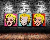 marilyn monroe mural venda por atacado-Andy Warhol Marilyn Monroe, 3 P Pintura Da Lona Sala de estar Home Decor Modern Mural Art Pintura A Óleo