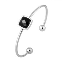 Wholesale bracelet silver balls for sale - Group buy Charm Square Crystal Sterling Silver Bangles For Women Round Ball Female Cuff Bangle Bracelet Hand Wristband Jewelry Gift