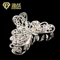 Wholesale wedding peacock hair clip resale online - New Fashion Wedding Silver Color Rhinestone Butterfly Peacock Feather Hair Claw Clips For Women Hair Jewelry
