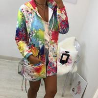 moda bayanlar rüzgarlık toptan satış-Moda Yeni Kadın Uzun Kollu Kapşonlu Renkli Ceketler Fermuar Tarzı Bayanlar Hoodies Sonbahar Kış Rüzgarlık Dış Giyim