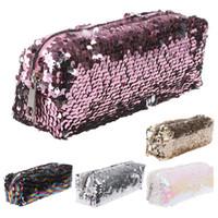 макияж канцелярские принадлежности оптовых-1Pc  Sequin Glitter Cosmetic Makeup Bag Shiny Bling Pencil Case Zipper Pouch Box School Stationery Pencil Case