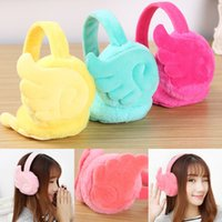 симпатичные наушники для ушей на зиму оптовых-Lady Cute Winter Warm Earphone Shaped Women Ear Muffs Fleece Ear Warmers Windproof Earmuffs Winter