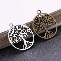 Wholesale bronze 25mm pendants resale online - Hot bag Ancient Silver Bronze mm Life Tree Charms Pendants Designer Jewelry Fit Making Necklace Bracelet Accessories Best Gift