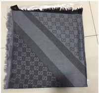 baumwollgarnmarken großhandel-Luxus Designer Schal Damen Marke Wolle und Baumwolle garngefärbt gestrickt Schal Schal Damen Winter warm weichen Schal Luxus übergroßen 140 * 140c