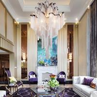 merdivenler restoran aydınlatması toptan satış-Ev Hotel Restaurant Dekorasyonu 110-220V için Işık Asma Alüminyum Zincir demir Avizeler Aydınlatma Lüks Merdiven kolye