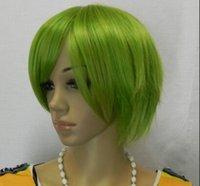 ingrosso parrucca dei capelli di trucco-Spedizione WIG Dettagli su grigio verde all'ingrosso Cosplay cosplay parrucche capelli corti
