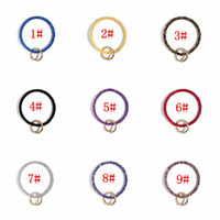 Wholesale diamond car photo resale online - 9styles Sequin Silicone Keychain Diamond Bracelet Silicone Wrist Key Ring Keyring Women Circle Wristlet Keychains Ring Wrist Strap