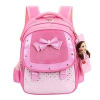 Wholesale baby girl pink set resale online - 2018 Baby Girls Kids Bowknot Heart Dot Backpack Toddler School Bag Set Casual Cute Dropship