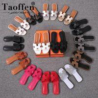 yeni moda seksi kadın ayakkabıları toptan satış-Taoffen Yeni Rahat 14 Renk Sandalet Günlük Yaz Plaj Kulübü Seksi Ayakkabı Kadın Moda Tatil Sandalet Ayakkabı Boyutu 34-42