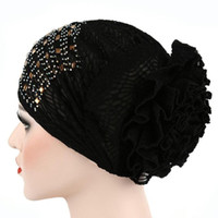 Wholesale pink black scarves for sale - Group buy Women Beanies Turban Muslim Daimond Stich Ruffle Hollow Out Bonnet Chimio Coton Scarf Cancer Hat Summer Caps