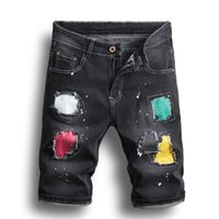 mini pantalon noir achat en gros de-Noir Hommes Denim Patch Jeans Shorts Trou Pantalon Lavage Simple Casual Confortable Homme Détruit hip pop pop Jeans AAA1968