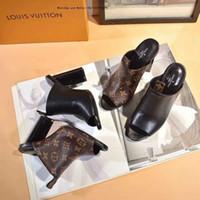 schwarze schnalle sandale großhandel-Sandalen mit hohen absätzen Samt Brot Kopf frauen Schuhe Wort Schnalle Große Marke Design Party Schwarz Spitz Sexy Dance Hohl