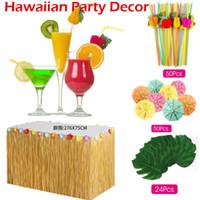 accessoires d'herbe achat en gros de-109 Pcs Hawaiian Photo Booth Props Set Été Tropical Beach Party Décorations Tropical Hawaiian Luau Table Herbe Jupe