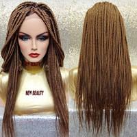 imagens de front lace wig venda por atacado-Real imagem loira Trançado Lace Front perucas Com o Cabelo Do Bebê jumbo trança de cabelo brasileiro caixa de trança peruca para as Mulheres negras
