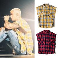 gelbe plaidhemd männer großhandel-New Kariertes Hemd mit seitlichem Reißverschluss FOG Hip Hip Ärmelloses Hemd Top Herrenmode Freizeithemden Rot Gelb Kariertes Tartan-Langhemd BFSG1204