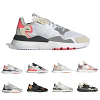 Wholesale night lights for running resale online - 2019 Newest cloud Core Black nite jogger M reflective night running shoes for men women triple white breathable trainer sports sneakers