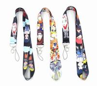 Wholesale naruto keychains resale online - 10pcs per Naruto cell phone lanyard keychains anime animation Naruto lanyard for keys badge holders badge