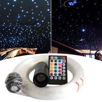 оптоволоконные светодиоды оптовых-RGB Fiber Starlight Headliner Kit 300 400 Strands Голосовое управление 6W LED Волоконно-оптический световой комплект для автомобиля