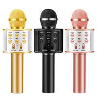ingrosso lettore karaoke di usb-WS858 Microfono Wireless Bluetooth Karaoke WS-858 Microfono USB KTV Player Lettore di telefonia mobile Mic Speaker Registra musica