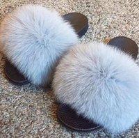 ingrosso pattini piani peluche per le donne-2019 Scivola in volpe per donna taglio Pantofole Fluffy Sliders Peluche Furry Summer Flats Sweet Ladies Shoes taglia grande 36-45