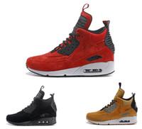 ventas de invierno zapatos para correr al por mayor-Venta Hot Designer Shoes Classic 90 Winter Sneakerboot Wine Red Runner Zapatillas de running para hombre Zapatillas de trigo amarillas Zapatillas de deporte de moda