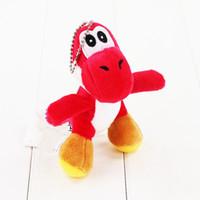 yoshi plüschtiere großhandel-10 Arten 10 cm Super Mario Bros Yoshi Gefüllte Plüschtiere Mit Schlüsselbund Anhänger Puppen für Kinder Mit Schlüsselbund Schlüsselring Großes Geschenk