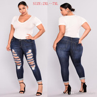 größe 26 frauen skinny jeans großhandel-Große Größe Frauen zerrissene gebrochene Löcher knielangen Jeans Denim Hosen Skinny High Wasit Dark Blue Casual Bleistifthosen 7XL