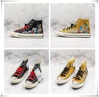 sapatas de lona pintadas mão da forma venda por atacado-Fashion Designer Sneakers pintados à mão 1970 estrela companheira x Pedaço de alta das sapatas de lona Skate sapatos confortáveis
