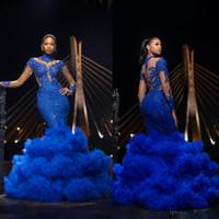 königlicher blauer chiffonrock großhandel-Royal Blue Mermaid Prom Dresses 2019 Stehkragen Lange Ärmel Pailletten Formale Abendkleider Rüschenrock Pageant Party Kleid Billig