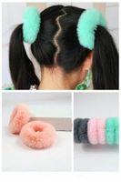 kız tüyü bantları toptan satış-Kafa aksesuarları Kadın Kızlar Hairband Taklit kürk Elastik Bantları Sevimli Yumuşak At Kuyruğu Tutucu Halat Saç Aksesuarları şapkalar
