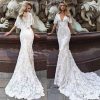Wholesale long cape short dress for sale - Group buy 2019 Modern Deep V Neck full Lace Mermaid Wedding Dresses Cape Short Sleeves Sweep Train Bridal Gowns Vestidos De Nnovia Custom Made