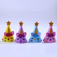 chapeaux de décoration achat en gros de-Cinq étoiles étoiles pointues chapeau anniversaire se réunissent atmosphère corde élastique décorer cap Licorne partie fournitures beaux enfants adultes 2slb1