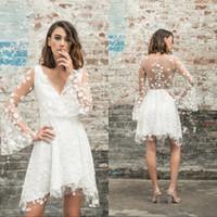 Wholesale white short wedding dressing resale online - Lace Short Knee Length Sheer Wedding Dresses V neck Long Sleeevs Sleeveless A Line Beach Cheap Bridal Gowns